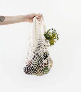 bæredygtigt indkøbsnet med grønsager