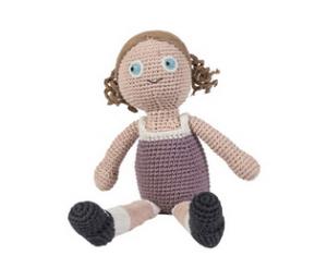 Sebra-hæklet dukke