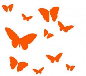 DiMaria wallstickers sommerfugle orange